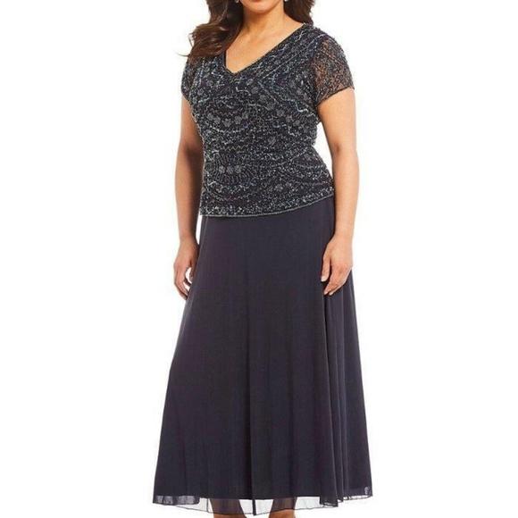 Pisarro Nights Dresses & Skirts - PISARRO NIGHTS Slate V-neck Beaded Bodic